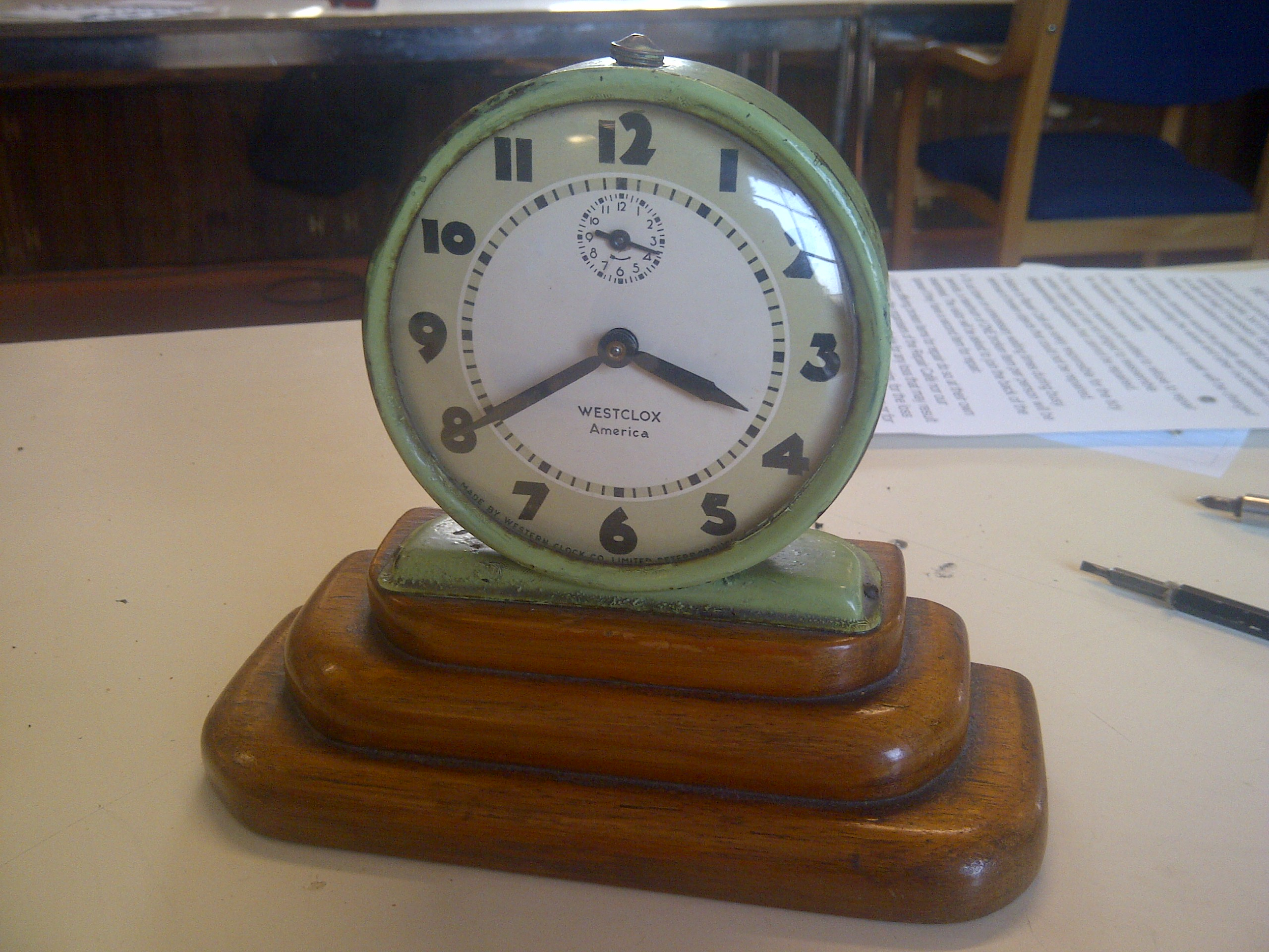 This vintage alarm clock was successfully got going again.