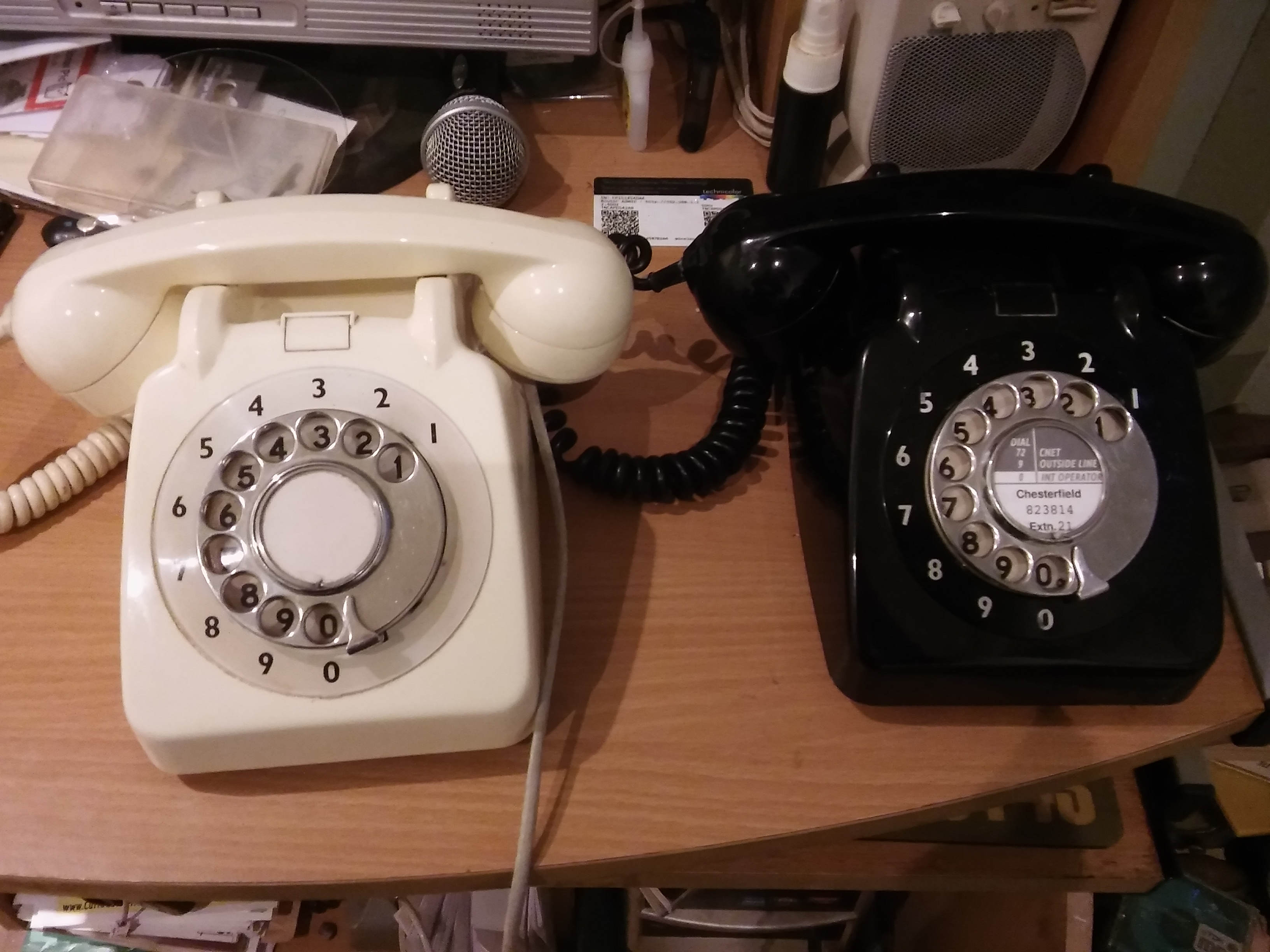 Two 'modern telephones' as the GPO called them. The one on the left dates from 1959 and is still working 57 years later!
